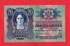 20 Kronen von 1913, 1. Auflage, ohne Deutsch/Österreich, in *VF+* Erhaltung!