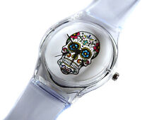UK Seller TRANSPARENT Women's Stylish Skull Day Of The Dead Quartz Wrist Watch