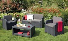 Allibert 'Modena' Rattan Garden/Patio Outdoor Furniture. Sofa Table & 2 Chairs