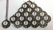 20 X Junior Football Medals - Silver Metal With Ribbons