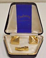 Vintage EMBASSY Mid Century Golden Textured Cuff Links & Tie Clasp Bar RARE