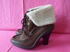 New 'Atmosphere / Primark' Brown / Fleece Turnover Ankle Boots UK 3 EUR 36