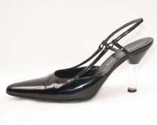 Escada Black Patent Leather High Clear Heels Shoes Sz. 6.5 B