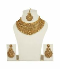 Indian Fashion Jewelry Ethnic Bollywood Necklace Gold Bridal Traditional Set