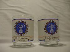 New listing 2 Vtg Frosted Rocks Bar Glasses- U.S. Constitution 1787~1987~ 200 yr Anniversary