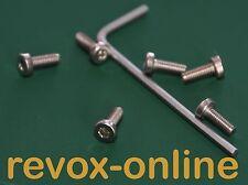 6 Bandteller-Edelstahlschrauben für alle Revox A67 mit 1 Innensechskantschlüssel