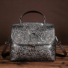 Women Vintage Genuine Leather Shoulder Messenger Hobo Bag Tote Embossed Handbag