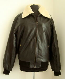 MEN'S  BLACK LEATHER ZIPPED AVIATOR, FLYING, BOMBER JACKET SIZE M - #2890