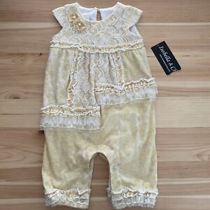 NWT ISOBELLA & CHLOE Yellow Lace Romper Outfit Size 12 Months