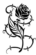 """ROSE WITH THORNS A5 FLEXIBLE MYLAR RE USEABLE STENCIL - IMAGE APPROX 7.2"""" x 5"""""""