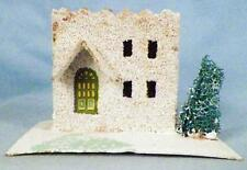 Vintage Christmas House Train Yard Putz Japan Italianate White Scrub Tree