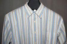 J Crew L Casual Shirt Long Sleeve Blue White Tan Striped Chest Pocket Cotton