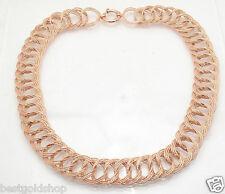 "18"" Bold Diamond Cut Triple Cuban Chain Necklace Real 14K Rose Pink Gold QVC"