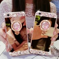 Luxury Bling Diamond Crystal Ring Holder Stand Kickstand Mirror Phone Case Cover