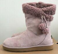 Size 9 UGG Women's Plumdale Cuff Short Winter Boots Dusk Pink Pom Poms 1102933