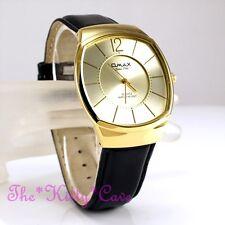 Swiss OMAX Gold Pltd Steel Seiko Movt Black Leather Unisex Dress Watch SGL017