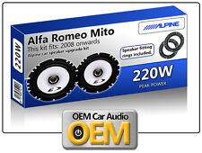 "ALFA ROMEO MITO puerta delantera Altavoces Alpine 17cm 6.5"" KIT DE PARA COCHE"