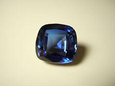Large Blue Sapphire Corundum Cushion Cut Lab Gemstone 16.5 Carats 14mm