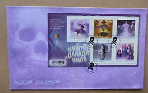 2016 CANADA HAUNTED STAMP SHEETLET 5 STAMPS FIRST DAY COVER FDC