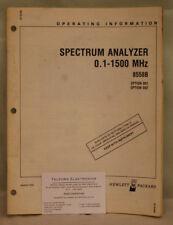 HP8558B Spectrum Analyzer 0.1-1500MHz Option 001 & 002 Operating Information