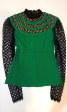 NWT Catherine Malandrino Black Label Immoral Mesh Sleeve Silk Lace Top $595 *2