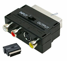 SCART S-Video Adattatore Tasto IN OUT Video Audio Convertitore RGB per Cavo