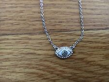 New Lia Sophia Evil Eye Good Luck Pendant Silver Tone Necklace Blue & Clear NWT