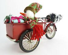 Nostalgie Blech Lastenfahrrad Lastenrad Modell Schneemann Retro rot Weihnachten