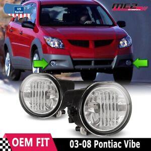 Fits 03-08 Pontiac Vibe Clear Lens PAIR Bumper Fog Light Lamp OE Replacement DOT