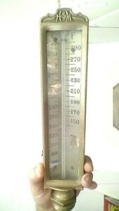 ANTIQUE SHIPS BOILER TEMP GAUGE BRASS /GLASS HEAVY H&M TAG EX COND