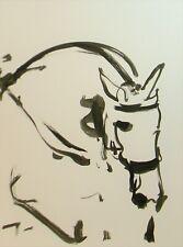 Jose Trujillo 18x24 Ink Wash Painting Abstract Horse Riding Contemporary Art