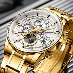 CURREN Quartz Watch Business Men Waterproof Sport Calendar Wristwatch Three Dial
