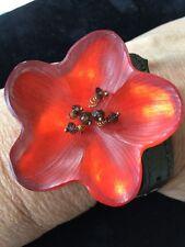 Alexis Bittar Red Lucite Flower Choker or Bracelet Wrap
