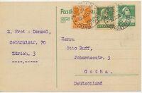 """SCHWEIZ """"ZÜRICH 5 / PREDIGERPLATZ"""" grosser K1 10 C Tellbrustbild GA-Postkarte"""