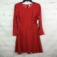 Old Navy Dress Womens Small S Red polka dot retro Fit Flare Mod Pin Up NWT
