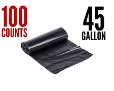 100 Large 45 Gallon Strong Commercial Trash Bag Heavy Garbage Duty Yard (Black)