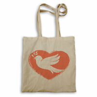 Red Heart With White Pigeon. Peace Day Tote bag gg702r