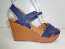 Lucky Brand Size 6  MODILLE Moroccan Blue Leather Wedge Sandals New Womens Shoes