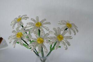 6 NEW French beaded Flowers Handmade white daisies DAISY spring flower stems