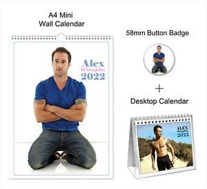 Alex O'Loughlin 2022 A4 Wall + Desktop Calendar + Pin Button Badge