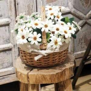 Hand-Woven Basket Simulation Flower Basket Single Handle Small Flower Basket