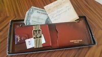 Vintage Western Cowboy Saddle dollar tooled leather wallet billfold Deadstock