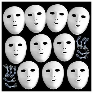 10 Masks White Fancy Dress Paint and Decorate White Flock Finish