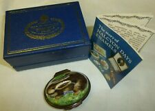 Halcyon Days Enamel Bonbonniere Rabbit Box Orig. Box & Booklet/Pamphlet Euc Mk'd