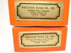 Precision Scale HOn3 D&RGW Caboose + Tank Car kits, brass trucks, lot F