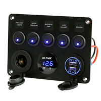 12V 24V Car Truck Van Motorhome 5 Gang LED Rocker Switch Panel+USB Charger Ports