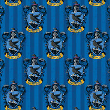 Harry Potter Ravenclaw Badges on Blue Stripe Digitally Printed Licensed Fabric F