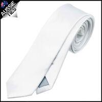 MENS WHITE SKINNY TIE slim narrow wedding solid plain thin formal business