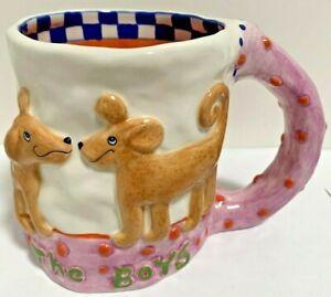 Judie Bomberger The Boys Mug Cup 3D Design Handmade Ceramic Rare HTF