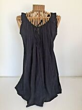 VINTAGE TOPSHOP COTTON MUSLIN SLEEVELESS LAGENLOOK TOP UK8/10 BLACK EXC.COND